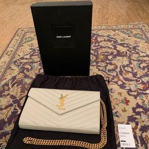 NWT!YSL Crema Soft Wallet On Chain Crossbody Bag!